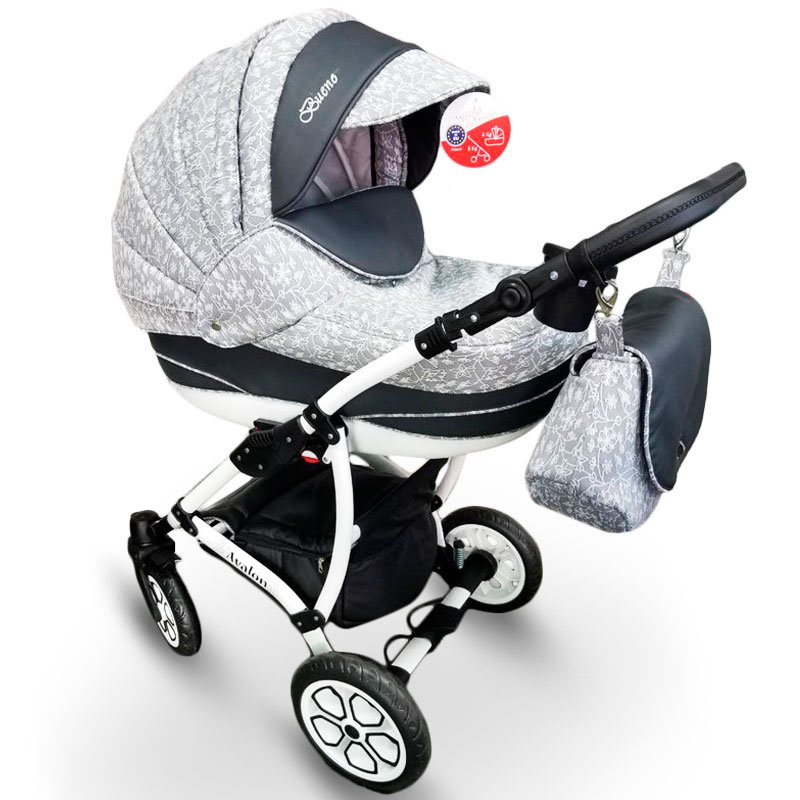 Baby Stroller 2 in 1 AVALON BUENO Gray-Flowers