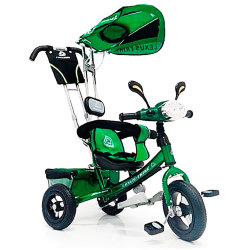Bicycle three-wheeled WS862AW-M (luminous headlight) inflatable wheels 12 \ 10 Green